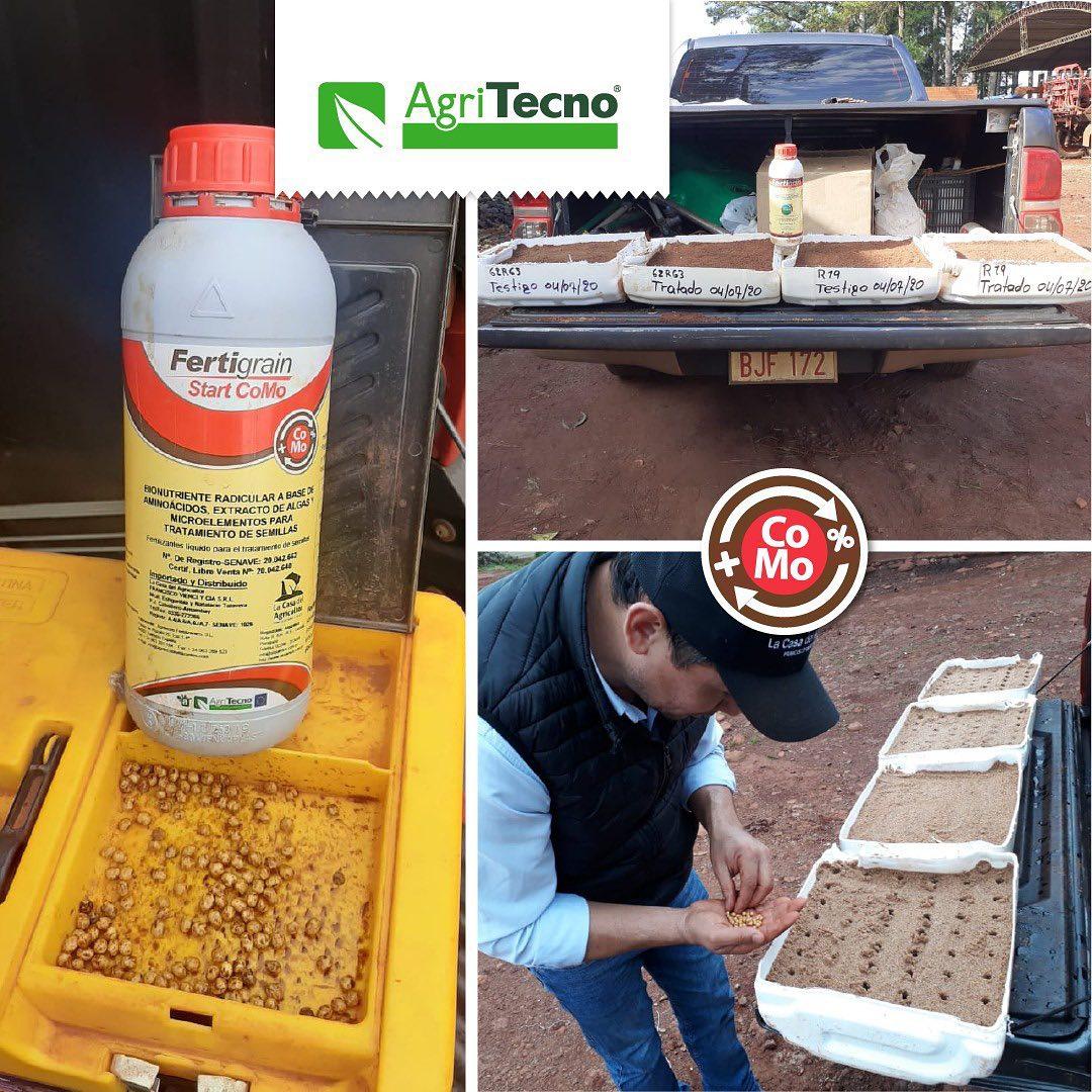 Prueba de #FertigrainStartCoMo en #semillas de #soja